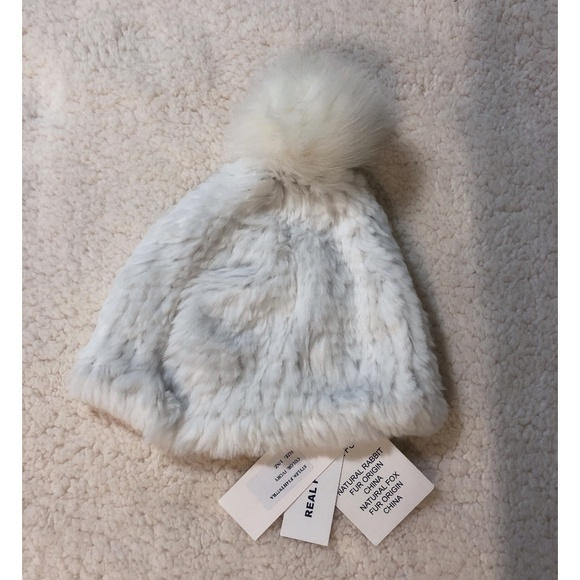 7a2e83dee44 Adrienne Landau Ivory Rabbit and Fox Fur Hat